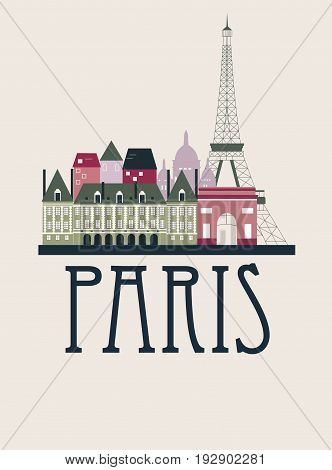 Paris city travel background in bright colors