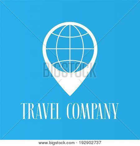 Travel agents vector logo symbol. Pointer and globe illustration as a design element for travel company. Can be used as icon for mobile app banner or background