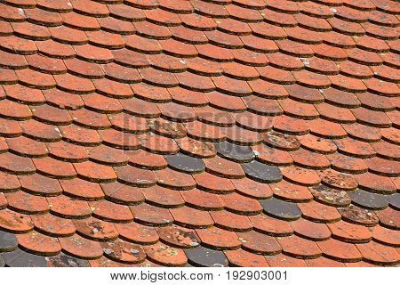 Old Weathered Red Brown Ceramic Roof Tiles