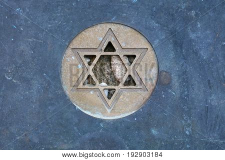 Star Of David Jewish Symbol At Gravestone Close Up