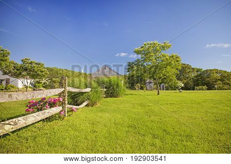 Bright pink roses near the wooden rural fence. scenic farm landscape with wind turbines in the distance. The concept of alternative. Copy space for your text