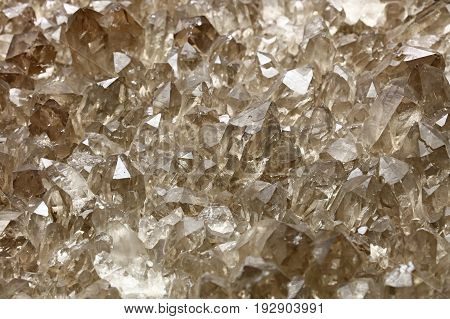 Cluster Of Quartz Mineral Crystals Close Up