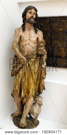 ZAGREB, CROATIA - FEBRUARY 17: St. John the Baptist from the old altar of St. Ladislaus in Zagreb Cathedral, Croatia on February 17, 2015.