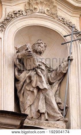 ROME, ITALY - SEPTEMBER 05: Statue of Saint Felix of Valois on facade of Santissima Trinita degli Spagnoli Church in Rome, Italy on September 05, 2016.