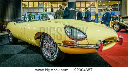 MAASTRICHT NETHERLANDS - JANUARY 14 2016: Sports car Jaguar E-Type Series I convertible 1964. International Exhibition InterClassics & Topmobiel 2016