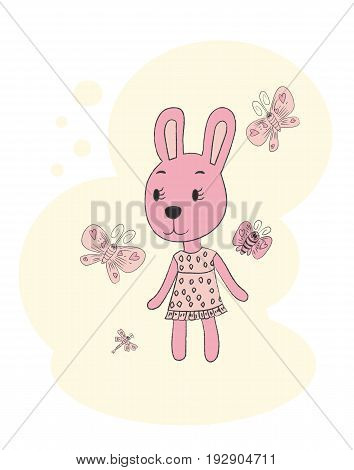 Cute rabbit. Hand drawn portrait of a rabbit in a dress. vector illustration
