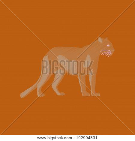flat shading style icon panther nature animal