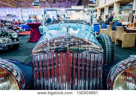 MAASTRICHT NETHERLANDS - JANUARY 14 2016: Detail of retro car Bentley 4 1/4 Litre 1937. International Exhibition InterClassics & Topmobiel 2016