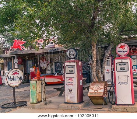 Arizona,USA October 25,2015: Views of the route 66 decorations in the little village in Arizona toning