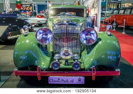 MAASTRICHT NETHERLANDS - JANUARY 14 2016: Vintage car Bentley 4.25 Litre Sports Saloon by Park Ward 1938. International Exhibition InterClassics & Topmobiel 2016