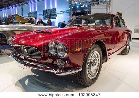 MAASTRICHT NETHERLANDS - JANUARY 14 2016: Grand Tourer car Maserati 3500 GTI Sebring 1962. International Exhibition InterClassics & Topmobiel 2016