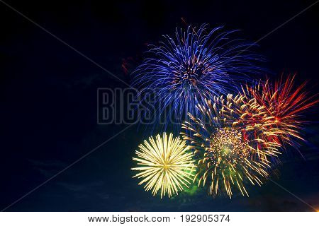 Colorful Fireworks On The Black Sky Background. Independence Day, 4Th Of July, Fourth Of July Or New