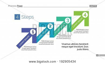 Process chart slide template. Business data. Graph, four step diagram, design. Concept for infographic, project. Can be used for topics like business strategy, management, planning