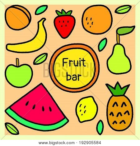 Simple fruits and leaves fruit bar sign, vector background