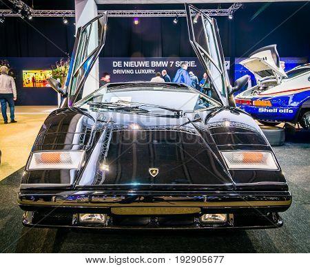 MAASTRICHT NETHERLANDS - JANUARY 14 2016: Sports car Lamborghini Countach 5000 Quattrovalvole 1987. International Exhibition InterClassics & Topmobiel 2016