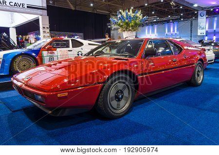 MAASTRICHT NETHERLANDS - JANUARY 14 2016: Sports car BMW M1 1979. International Exhibition InterClassics & Topmobiel 2016