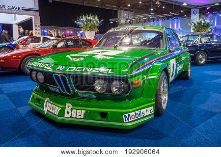 MAASTRICHT NETHERLANDS - JANUARY 14 2016: Sports car BMW 3.0 CSL (BMW New Six CS) 1974. International Exhibition InterClassics & Topmobiel 2016