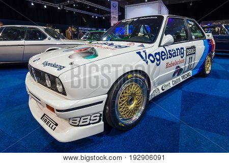 MAASTRICHT NETHERLANDS - JANUARY 14 2016: Sports car BMW M3 (E30) DTM 1990. International Exhibition InterClassics & Topmobiel 2016