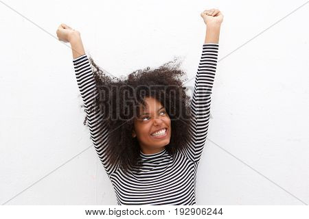 Close Up Beautiful Happy Black Woman With Arms Outstretched