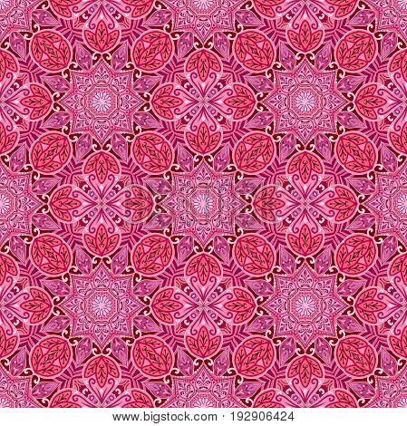 Seamless pattern with red mandala. Geometric circle element. Indian, islamic, ottoman elements