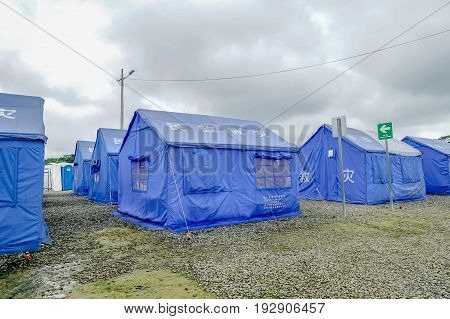 MUISNE, ECUADOR- MAY 06, 2017: Improvised shelters in the coasts of Muisne after the Powerful 7.8 Magnitude Earthquake has left the coast cities in Ruins, in South America, Ecuador.