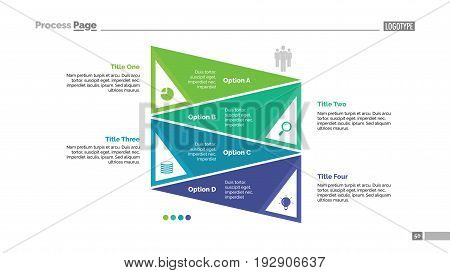 Four triangles process chart slide template. Business data. Graph, diagram, design. Creative concept for infographic, presentation. Can be used for topics like analysis, strategy, planning.