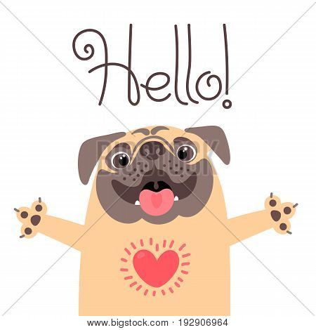 Greeting card with cute dog. Sweet pug says hello. Vector illustration.