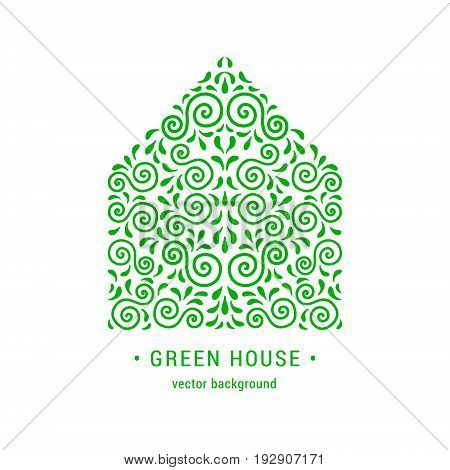 Ecology style flourish emblem. Decorative ornamental house made of green swirls and leaves. Eco design embellishment. EPS 10 vector illustration. Isolated.