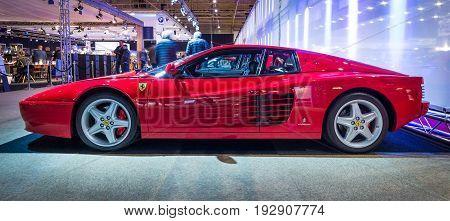 MAASTRICHT NETHERLANDS - JANUARY 14 2016: Sports car Ferrari Testarossa (512 TR) 1993. International Exhibition InterClassics & Topmobiel 2016