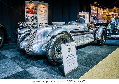 MAASTRICHT NETHERLANDS - JANUARY 14 2016: Racing car Lagonda 45 Litre Fox & Nicholl 1938. International Exhibition InterClassics & Topmobiel 2016