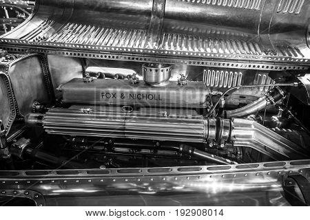 MAASTRICHT NETHERLANDS - JANUARY 14 2016: Engine of racing car Lagonda 45 Litre Fox & Nicholl 1938. Black and white. International Exhibition InterClassics & Topmobiel 2016