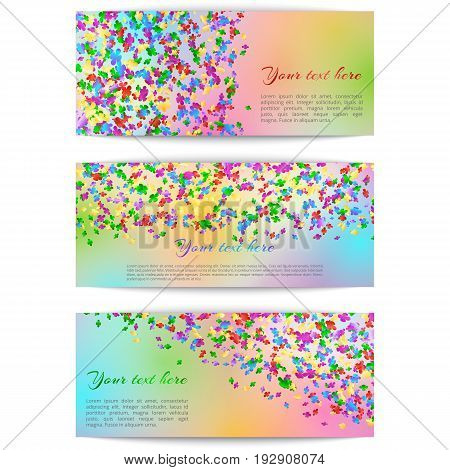Set of festive banners with multi-colored confetti on a bright background