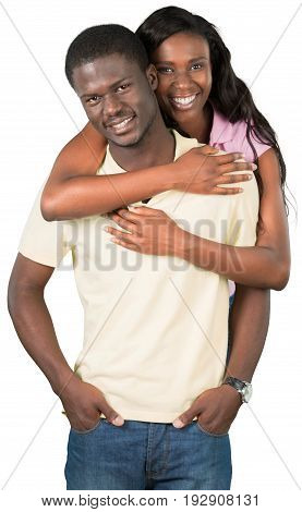 Young african couple embracing looking at camera young adults hand watches