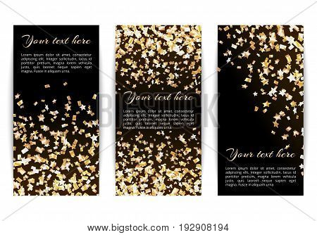 Set of vertical banners with bright golden stars of confetti on a dark background
