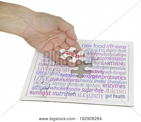 The  holistic cancer cure puzzle -  hand holding a jigsaw puzzle piece showing the word CANCER, the remainder of the puzzle contains a cancer word cloud on white background