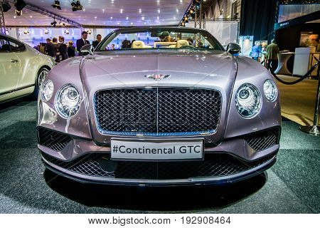 MAASTRICHT NETHERLANDS - JANUARY 14 2016: Luxury car Bentley Continental GTC V8S since 2016. International Exhibition InterClassics & Topmobiel 2016