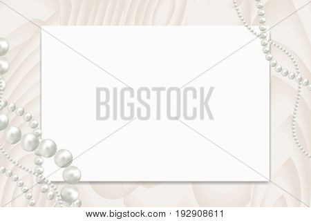 Blank paper with empty tag for your text and white pearl beads garland on wooden table top view. Can be used as mockup