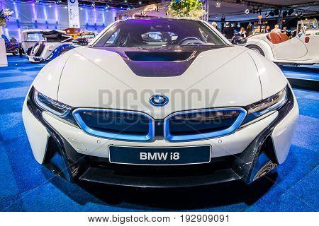 MAASTRICHT NETHERLANDS - JANUARY 14 2016: Plug-in hybrid sports car BMW i8. International Exhibition InterClassics & Topmobiel 2016