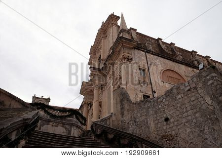 DUBROVNIK, CROATIA - DECEMBER 01: Jesuit church of Saint Ignatius in Dubrovnik in Dubrovnik, Croatia on December 01, 2015.