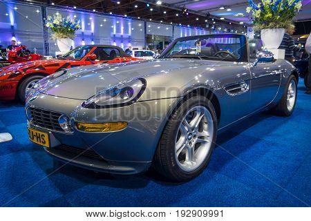 MAASTRICHT NETHERLANDS - JANUARY 14 2016: Sports car BMW Z8 1999. International Exhibition InterClassics & Topmobiel 2016