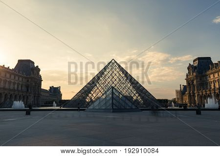 Paris, France - October 2016. Louvre Museum. Famous Historical Art Landmark In Europe. Romantic, Tou
