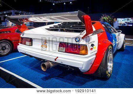 MAASTRICHT NETHERLANDS - JANUARY 14 2016: Sports car BMW M1 Procar (racing version of the BMW M1) 1980. Rear view. International Exhibition InterClassics & Topmobiel 2016
