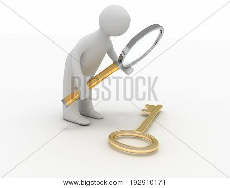 3d man with lens finds key . 3d rendered illustration