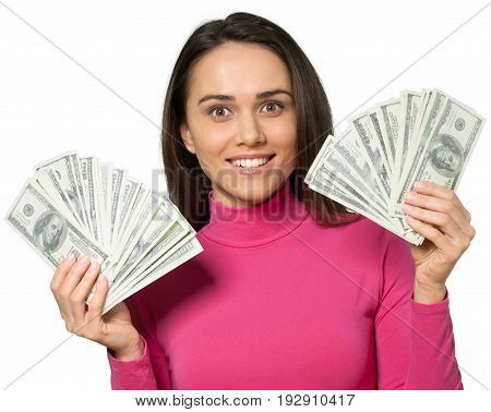 Young woman dollars dollar money isolated wealthy