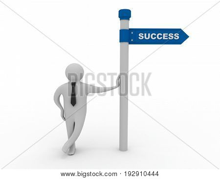3d man with directional sign success . 3d rendered illustration