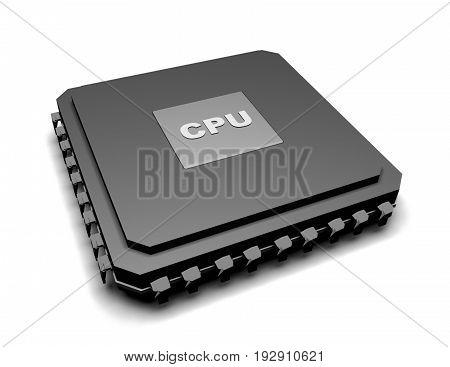 processor unit cpu concept , 3d renderd illustration