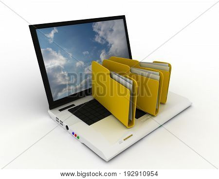notebook with folders . 3d rendered illustration