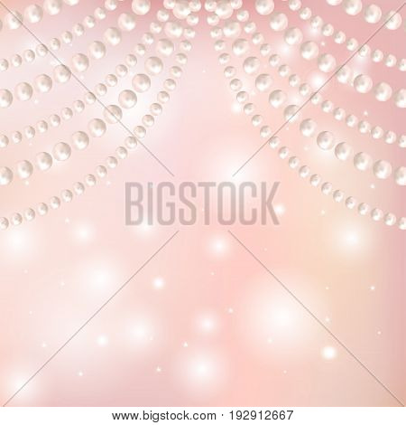 Abstract pearl garlands beads on shiny pink background with bokeh. Texture for celebratory design Christmas decorations. wedding theme. (Clipping mask used easy editable) Vector illustration.