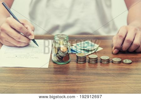 Saving Money And Account Banking For Finance Concept