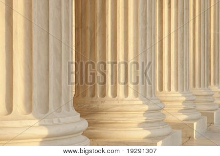 Government building marble columns detail view. US Supreme Court